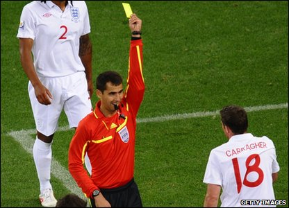 The only yellow card went to Jamie Carragher - he's now suspended from the Slovenia game which will force Fabio Capello to make more changes to the squad.
