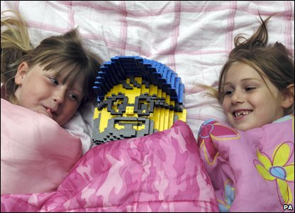Kids taking part in the Giant Sleepover in Legoland