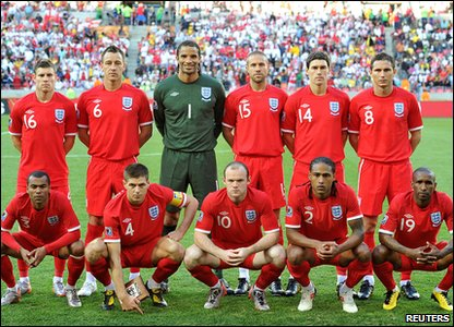 The England line-up for their Slovenia match