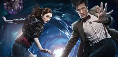 Publicity shot for Doctor Who, showing Karen Gillan as Amy Pond and Matt Smith as the Doctor