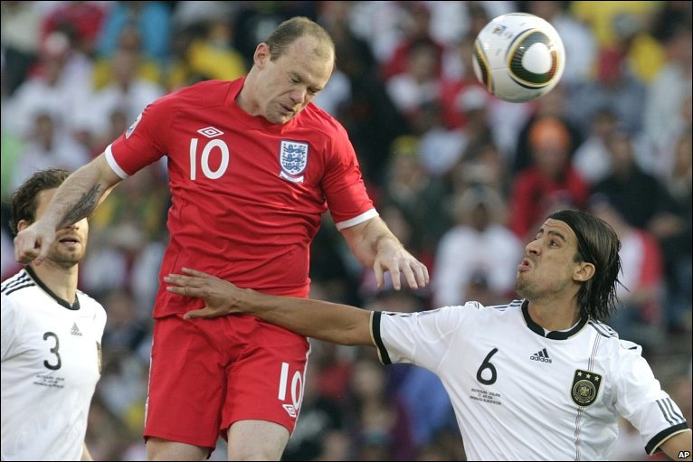 Wayne Rooney Injury History Wayne Rooney outjumps the German defence