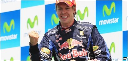 Sebastian Vettel celebrating his win