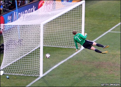 Manuel Neuer of Germany watches the ball bounce over the line from a Frank Lampard shot that hit the crossbar