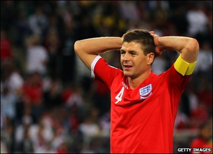 England captain Steven Gerrard with his hands on his head after England loses to Germany