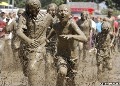 American kids at the annual Mud Day