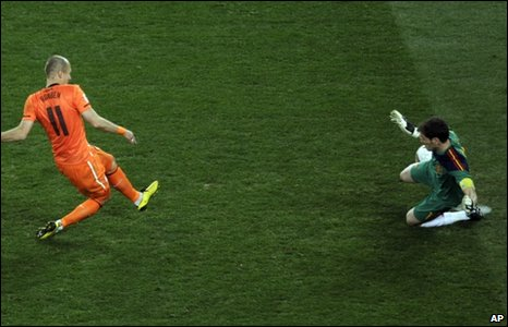 Arjen Robben's shot is saved