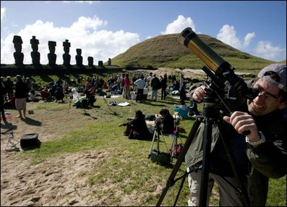 Thousands of tourists and scientists gathered on Easter Island in Chile to watch the total Solar Eclipse.