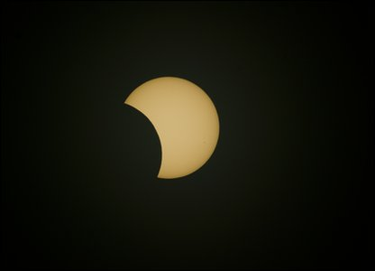 The eclipse followed a long path over the South Pacific. The longest time was  five minutes and 20 seconds over the sea.