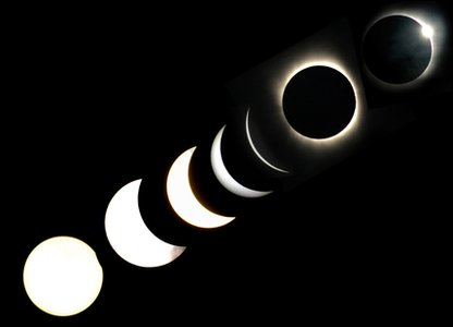 A total solar eclipse occurs when the moon passes between the sun and the Earth, blocking its rays and casting a shadow. Here are the different stages as it happened!