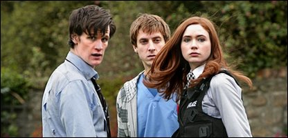 Doctor Who (Matt Smith), Rory Williams (Arthur Darvill) and Amy Pond (Karen Gillan) in episode 1 of series 5