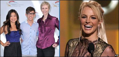 Britney Spears and members of the Glee cast