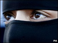 Girl wearing a full-face veil