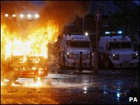 Police vans at the riots