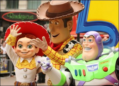 Jessie, Woody and Buzz wave to the crowds