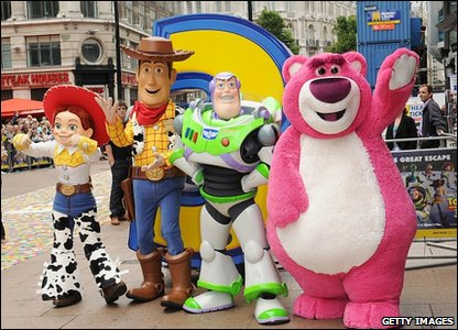 Jessie, Woody, Buzz and Lots-O'-Huggin' Bear
