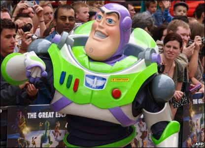 Buzz Lightyear greets the fans in Leicester Square