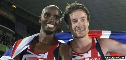 British athletes Mo Farah and Chris Thompson