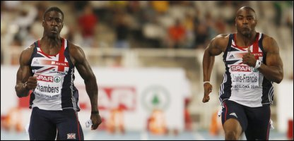 British athletes Dwain Chambers and Mark Lewis-Francis in the 100m final at the European Athletics Championships in Barcelona, Spain