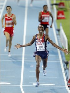 Mo Farah winning the men's 5,000m