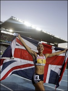 Jessica Ennis celebrates winning the heptathlon