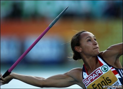 Jessica Ennis throwing a javelin
