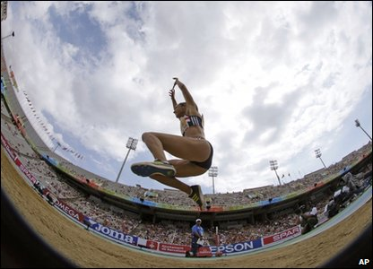 Jessica Ennis competes in the long jump as part of the heptathlon