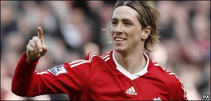 Liverpool striker Fernando Torres playing for the club in March 2010