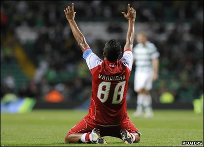 SC Braga's Vandinho celebrates after final whistle