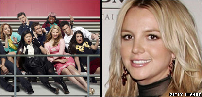 Some of the Glee cast and Britney Spears