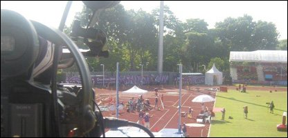 Camera eye view  of the pole vault competition.