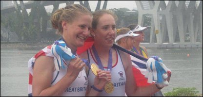 Team GB womens doubles with their gold medals