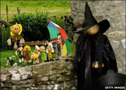 Scarecrow dressed as a witch at the annual festival in Kettlewell