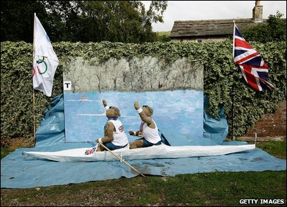 Scarecrows dressed as Olympic rowers at annual festival in Kettlewell