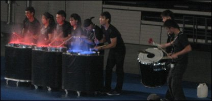 Drumming demonstration before the badminton