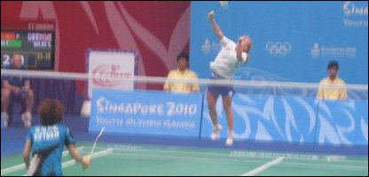 Sarah Milne causing a racket on the badminton court.