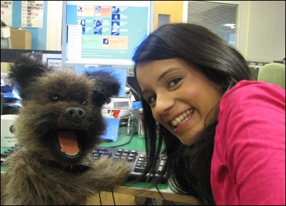 Hacker and Sonali in the newsround office.