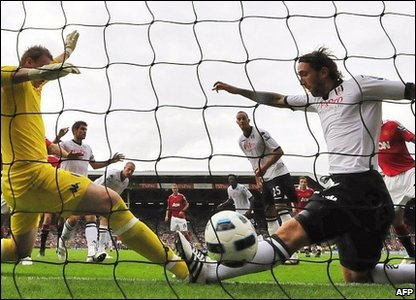 Nani goal for Manchester United against Fulham FC at Craven Cottage
