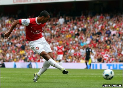 Theo Walcott scores a goal for Arsenal at the Emirates Stadium.