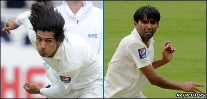 Pakistan cricket players Mohammad Amir (left) and Mohammad Asif
