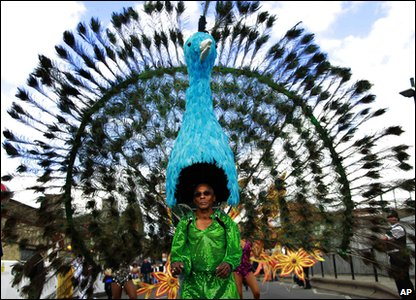 Notting Hill Carnival - man in peacock costume