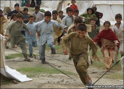 Kids at relief camp in Pakistan having fun