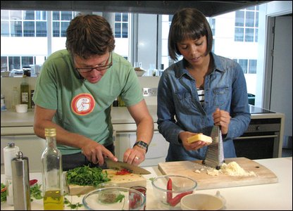 Leah and Stefan prepare the ingredients