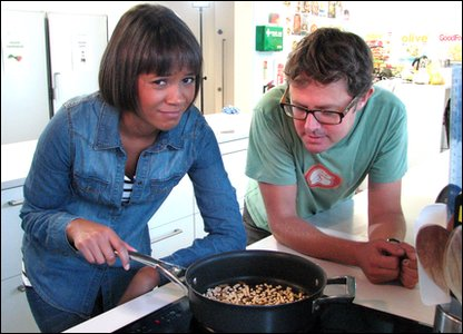 Leah and Stefan with the pan of pine nuts and crickets