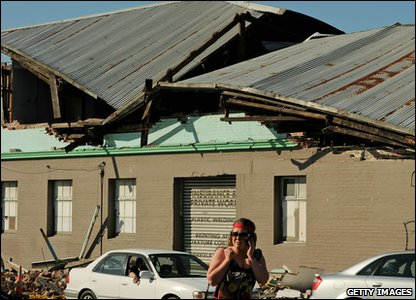 New Zealand earthquake - collapsed roof