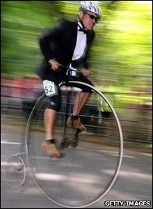 Man racing on a Penny Farthing