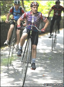 Penny Farthing racers taking part in the Knutsford Great Race