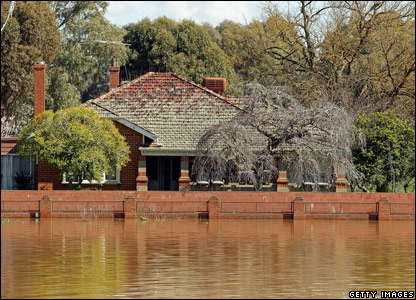 A house surrounded by floodwater in Wangaratta, Australia
