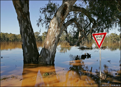 Farmland swamped by floodwaters in Wangaratta, Australia