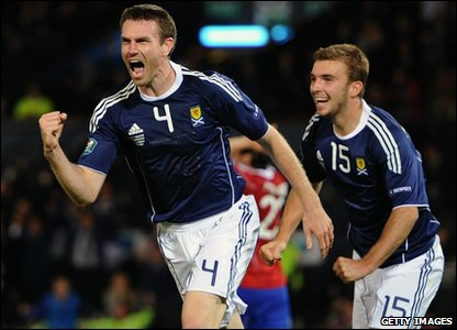 Scotland v Liechtenstein Euro 2012 qualifier - Stephen McManus celebrates goal