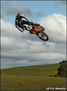 Australian biker Tye Simmonds performing stunt